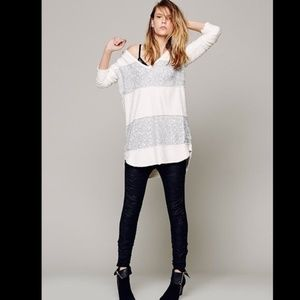 Free People Ivory White Sequin Sweater Over Size S